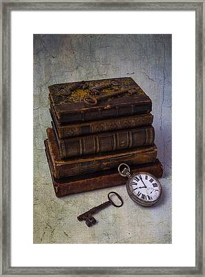 Books And Old Watch Framed Print by Garry Gay