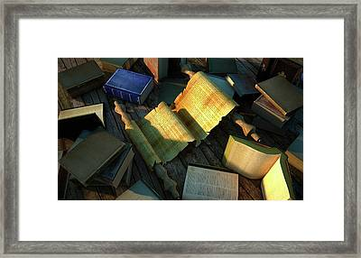 Books And Parchment Framed Print