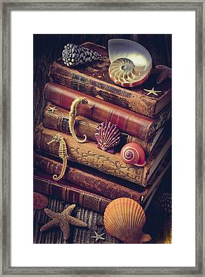 Books And Sea Shells Framed Print