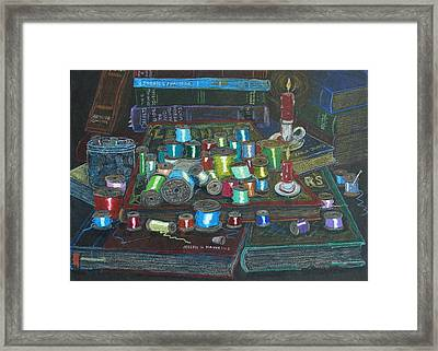Framed Print featuring the drawing Books And Spools/bernie And Joe by Joseph Hawkins