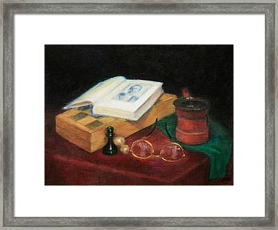 Books-chess-coffee Framed Print