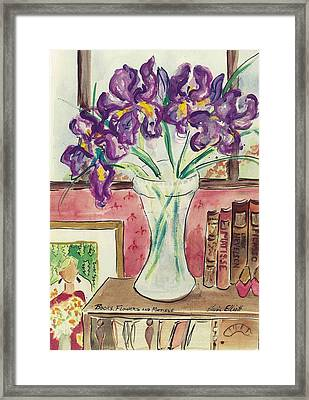 Framed Print featuring the painting Books Flowers And Matisse by Elaine Elliott
