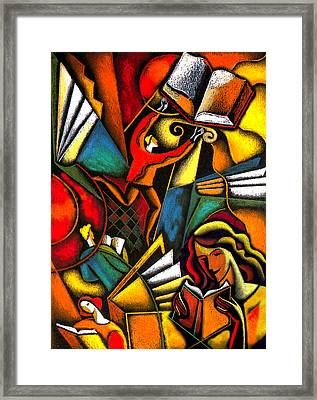 Books Framed Print by Leon Zernitsky