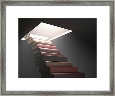 Books Making Steps Framed Print by Ktsdesign