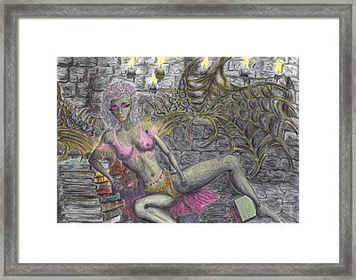 Framed Print featuring the drawing Books Of Solitude. by Kenneth Clarke