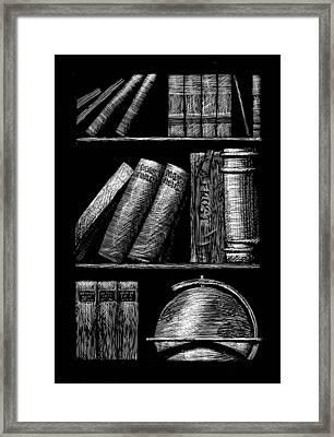 Books On Shelves Framed Print by Jim Harris