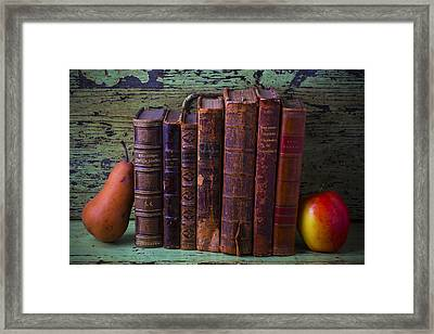 Books With Pear And Apple Framed Print