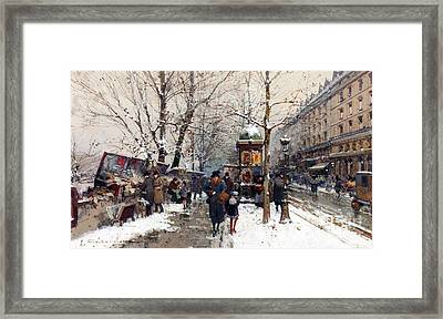 Bookstalls In Winter Paris Framed Print by Eugene Galien-Laloue