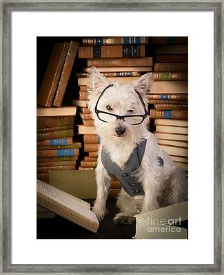 Bookworm Dog Framed Print