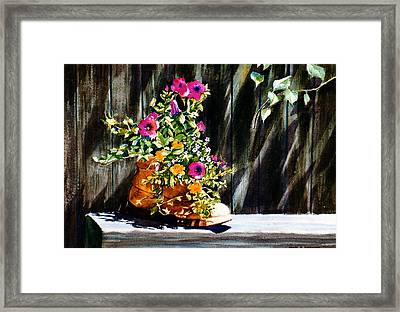 Framed Print featuring the painting Boot Bouquet by Karol Wyckoff