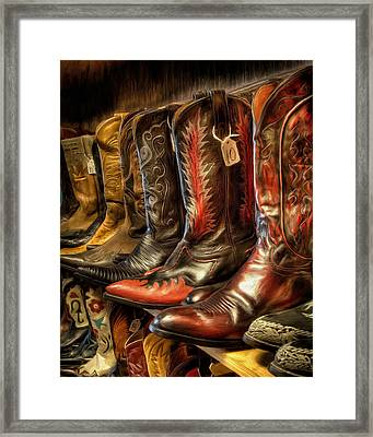 Boot Rack Framed Print by Michael Pickett
