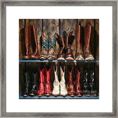 Boot Rack Framed Print by Olivier Le Queinec