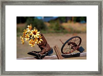 Boot With Flowers Framed Print