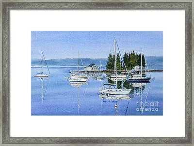 Boothbay Harbor Reflections Framed Print by Karol Wyckoff
