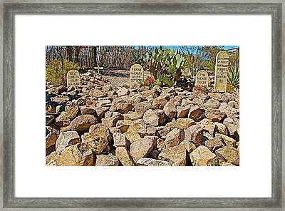 Boothill Cemetery's Tombstones Of Men Killed In Ok Corral Shootout In Tombstone-arizona Framed Print by Ruth Hager