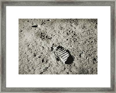 Bootprint On The Moon Framed Print by Nasa/detlev Van Ravenswaay