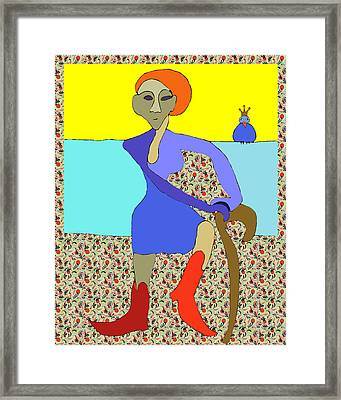 Boots And A Cane Framed Print