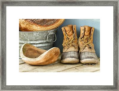 Boots And Bowls Framed Print by Dawna  Moore Photography