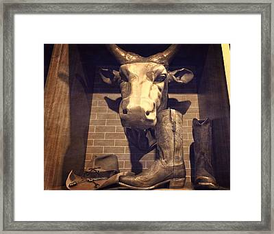 Boots And Bulls Framed Print by Dan Sproul