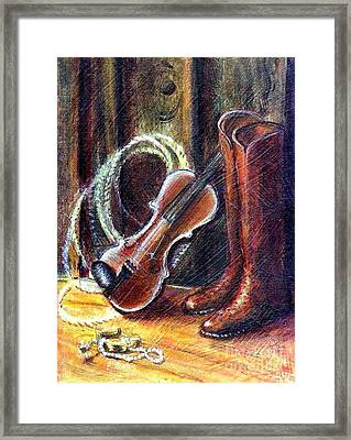 Boots And Pearls Framed Print
