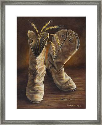 Boots And Wheat Framed Print