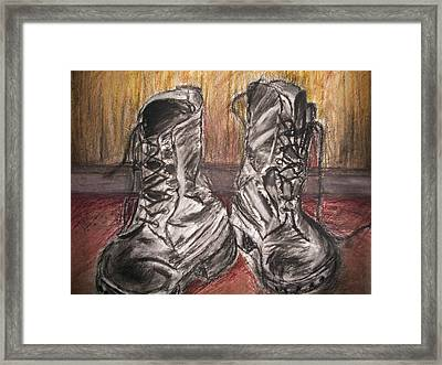 Boots In The Hall Way Framed Print