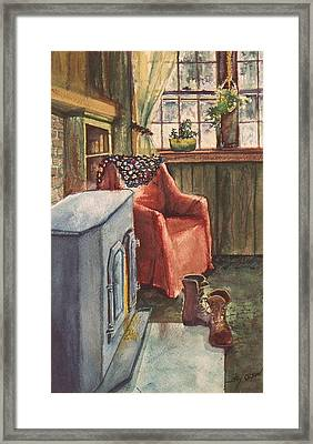 Framed Print featuring the painting Boots by Joy Nichols