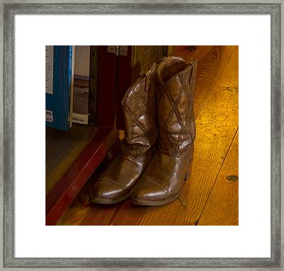 Boots Not Made For Walking Framed Print by Jean Noren