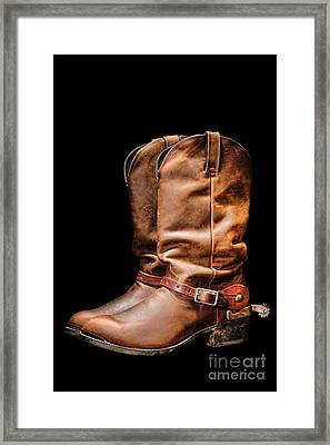 Boots On Black Framed Print by Olivier Le Queinec