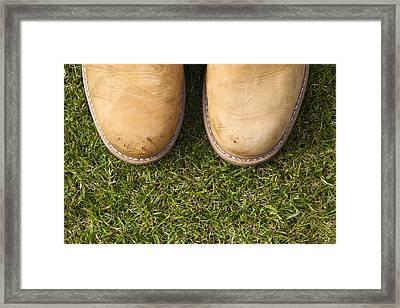 Boots On Grass Framed Print