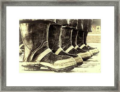 Boots On The Ground Monotone Framed Print