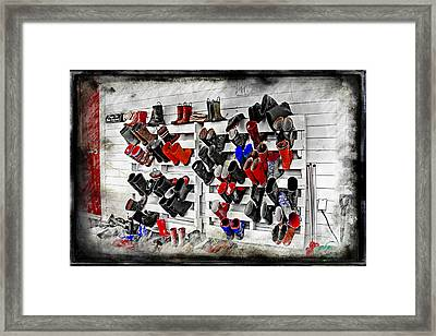 Boots On The Wall Means Kids In The Hall Framed Print by Cye Gray