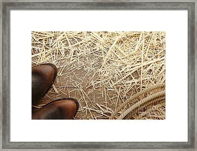 Boots On Wood Framed Print by Olivier Le Queinec