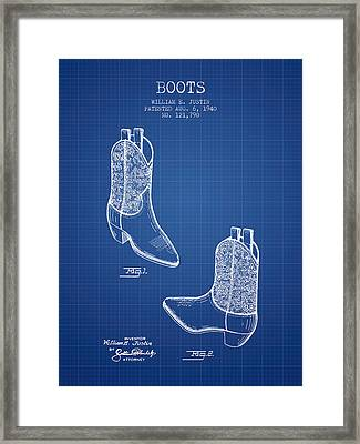 Boots Patent From 1940 - Blueprint Framed Print by Aged Pixel
