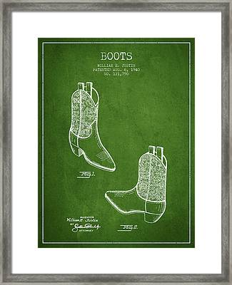 Boots Patent From 1940 - Green Framed Print by Aged Pixel