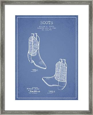 Boots Patent From 1940 - Light Blue Framed Print by Aged Pixel