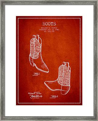 Boots Patent From 1940 - Red Framed Print by Aged Pixel