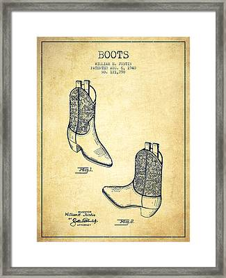 Boots Patent From 1940 - Vintage Framed Print by Aged Pixel