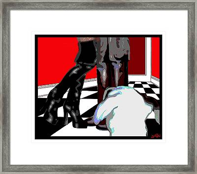 Framed Print featuring the painting Booty Call by Jann Paxton