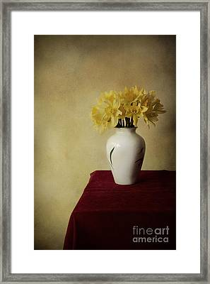 Boquet Of Daffodils In White Pot  Framed Print by Jaroslaw Blaminsky