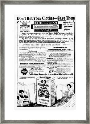 Borax Detergent Advert Framed Print