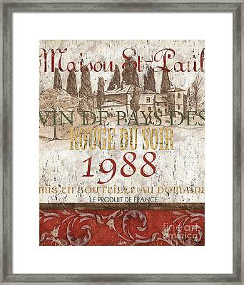 Bordeaux Blanc Label 1 Framed Print by Debbie DeWitt