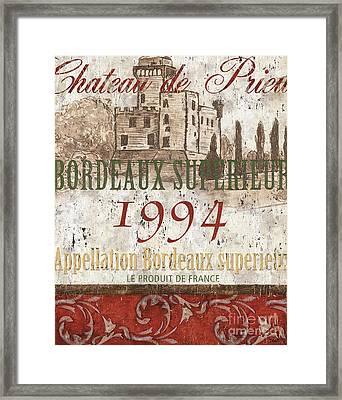 Bordeaux Blanc Label 2 Framed Print