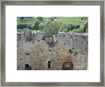 Framed Print featuring the photograph Bordeaux Castle Ruins With Vineyard by HEVi FineArt