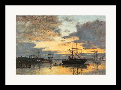Boats In The Harbor Framed Prints