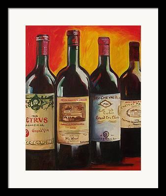 Wine Bottle Paining Paintings Framed Prints