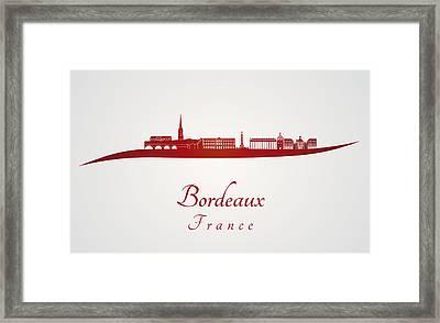 Bordeaux Skyline In Red Framed Print