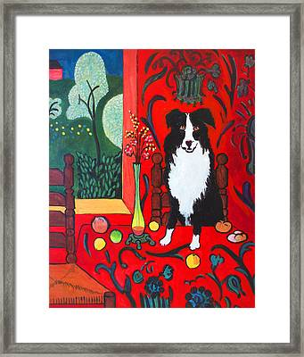 Border Collie Matisse Framed Print by Charles Wallis