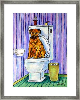 Border Terrier On The Toilet Framed Print by Jay  Schmetz