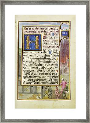 Border With Job Mocked By His Wife And Tormented By Two Framed Print by Litz Collection